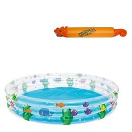 Piscina Inflável Infantil Bestway 480 Litros 1,83 m Diâmetro + Lança Água Dragão Laranja