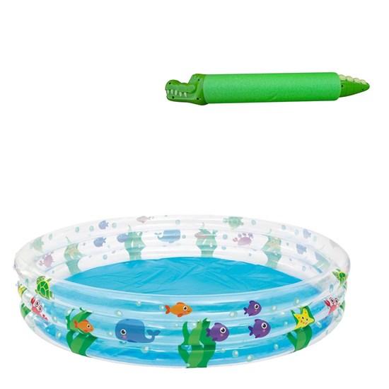 Piscina Inflável Infantil Bestway 480 Litros 1,83 m Diâmetro + Lança Água Jacaré Verde