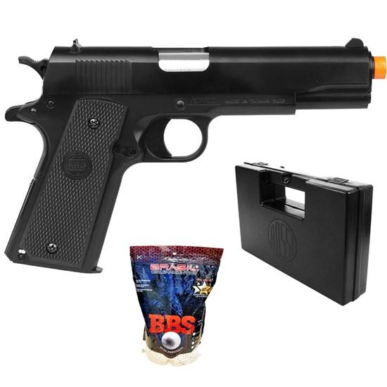 Pistola Airsoft 1911 KWC Spring com 4000 Munições BBs e Maleta Case Rossi