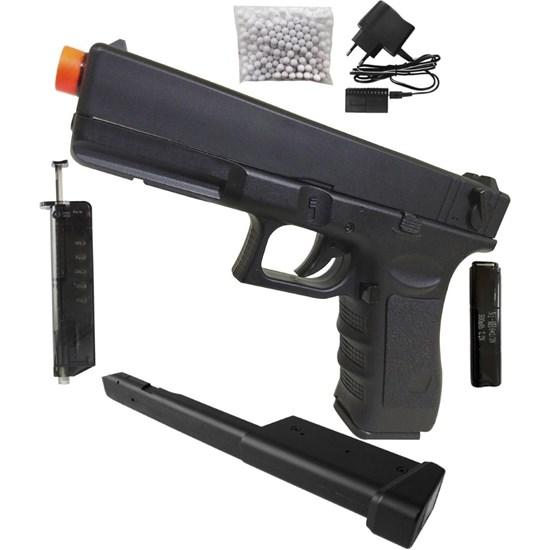 Pistola Airsoft AEP CYMA CM030 G18C Bivolt + Magazine Estendido 100 BB's