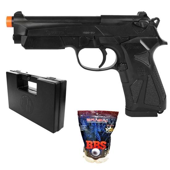 Pistola Airsoft Beretta 90Two com 4000 Munições BBs e Maleta Case Rossi