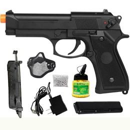 Pistola Airsoft Beretta CM126 AEP com Máscara Meia-face Nautika e 1000 Munições BBs