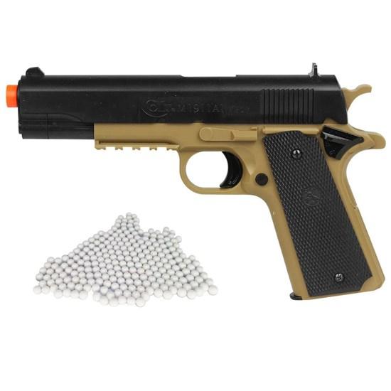 Pistola Airsoft Colt 1911 230 FPS BAXS com Trava + Munições BBs 0,12g 2000 Un