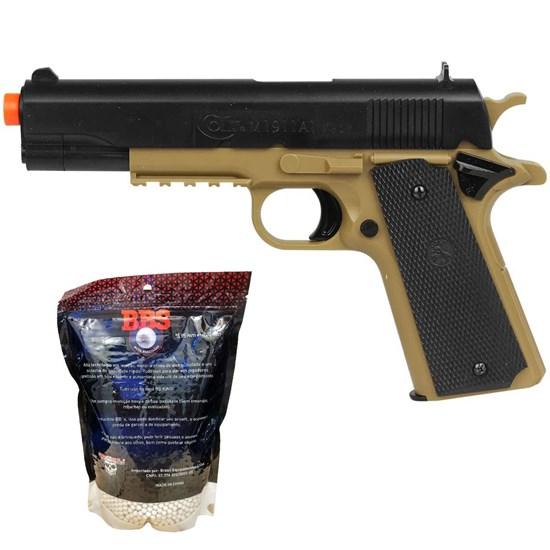 Pistola Airsoft Colt 1911 230 FPS BAXS com Trava + Munições BBs 0,20g BB King 4000 Un