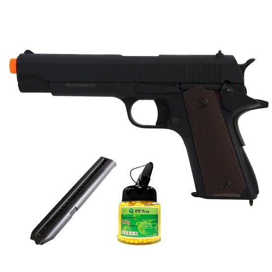 Pistola Airsoft Colt 1911 CM123 com Magazine C26S e 1000 Munições BBs