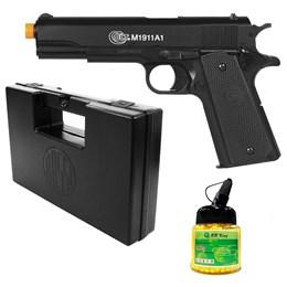 Pistola Airsoft Colt M1911A1 com 1000 Munições BBs e Maleta Case Rossi