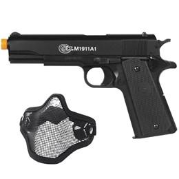 Pistola Airsoft Colt M1911A1 com Máscara Meia-face Nautika