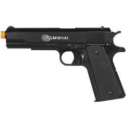 Pistola Airsoft Colt M1911A1 com Máscara Meia-face Nautika e 1000 Munições BBs