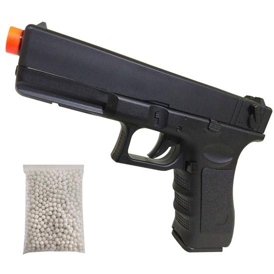 Pistola Airsoft CYMA CM030 G18C Elétrica AEP Bivolt com 1000 BB's 0,12g