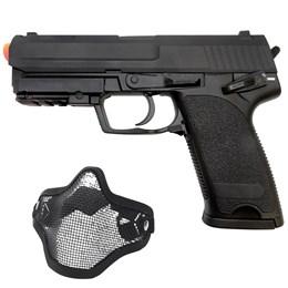 Pistola Airsoft Cyma CM125 Bivolt 200 FPS + Máscara Meia-face Nautika Tela e Alça Regulável Airsoft