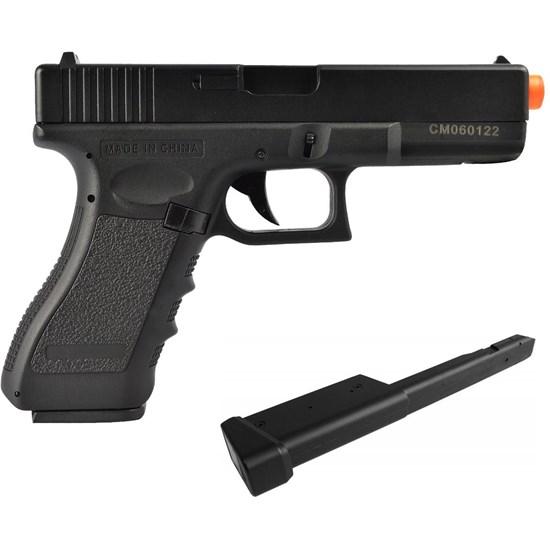 Pistola Airsoft CYMA G18C CM030 com Magazine Estendido 100 BBs C27