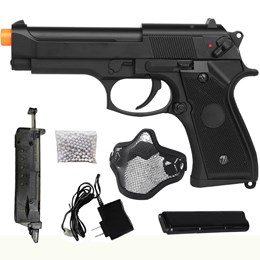 Pistola Airsoft Elétrica Beretta CM126 Full Metal + Máscara Meia-face Nautika