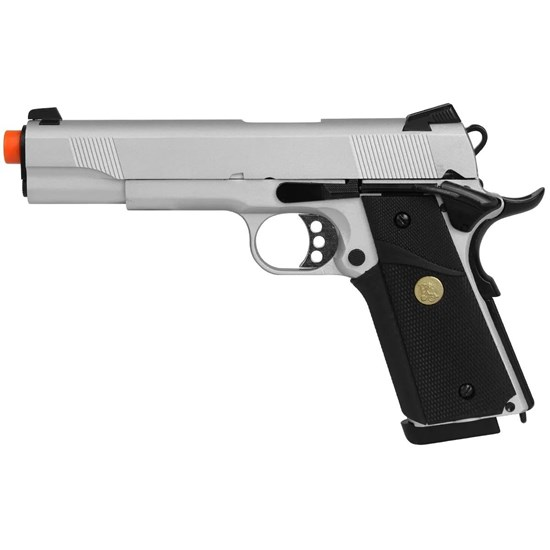 Pistola Airsoft GBB Double Bell 728Y Colt 1911 320 FPS com Blowback