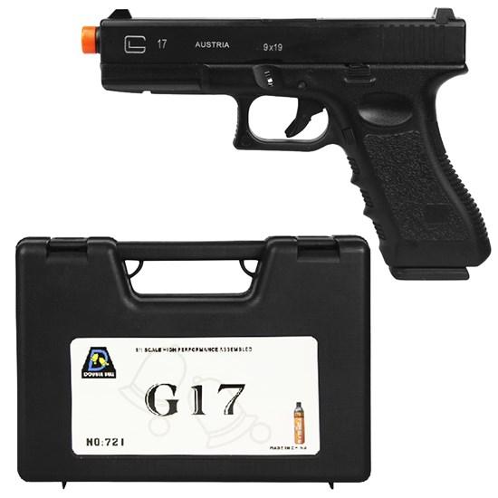 Pistola Airsoft GBB Double Bell G17 721 320 fps Semi-Automático com Maleta