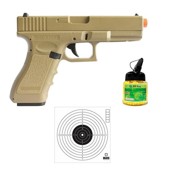 Pistola Airsoft Glock CM30 AEP com 10 Alvos Papel Bravo Militar e 1000 Munições BBs