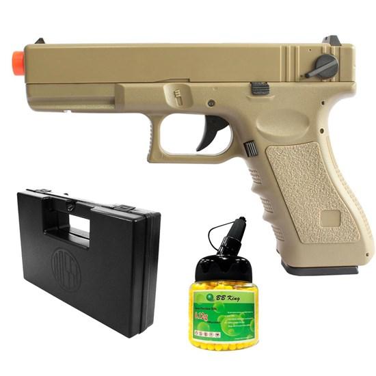Pistola Airsoft Glock CM30 AEP com 1000 Munições BBs e Maleta Case Rossi