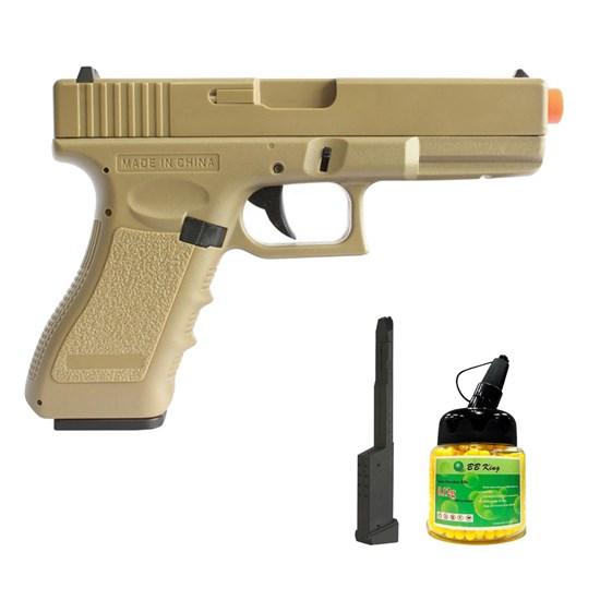 Pistola Airsoft Glock CM30 AEP com Magazine Estendido e 1000 Munições BBs