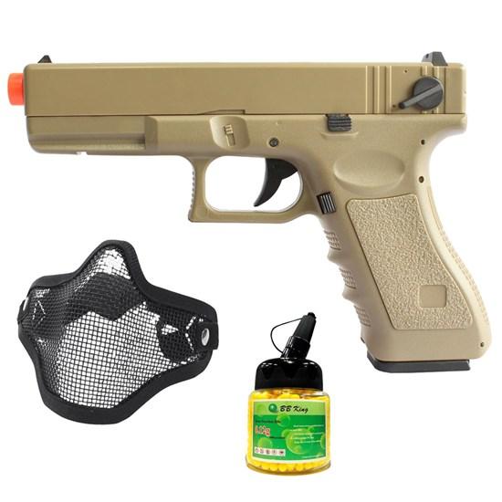 Pistola Airsoft Glock CM30 AEP com Máscara Meia-face Nautika e 1000 Munições BBs
