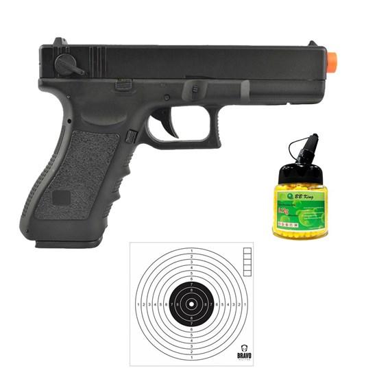 Pistola Airsoft Glock G18C CM030 com 10 Alvos Papel Bravo Militar e 1000 Munições BBs