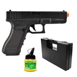 Pistola Airsoft Glock G18C CM030 com 1000 Munições BBs e Maleta Case Rossi