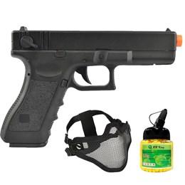 Pistola Airsoft Glock G18C CM030 com Máscara Meia-face Nautika e 1000 Munições BBs