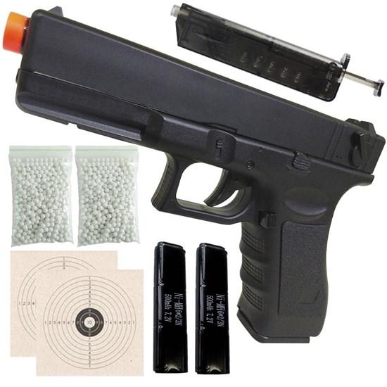 Pistola Airsoft Glock G18C Elétrica CYMA + Bateria + 1000 BB's 0,20g + 2 Alvos