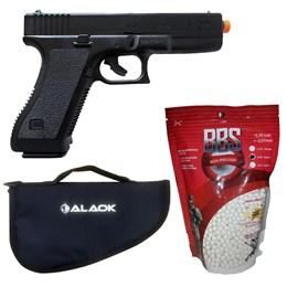 Pistola Airsoft KwC K17 com Trava de Segurança Full ABS + 2000 BB's 0,20g + Case para Pistola 34cm