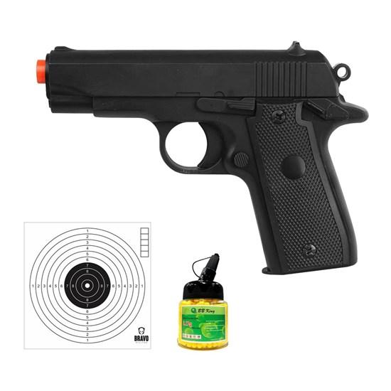 Pistola Airsoft P88 Colt com 10 Alvos Papel Bravo Militar e 1000 Munições BBs