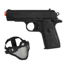 Pistola Airsoft P88 Colt Spring Full Metal + Máscara Meia-face Nautika para Airsoft Tático