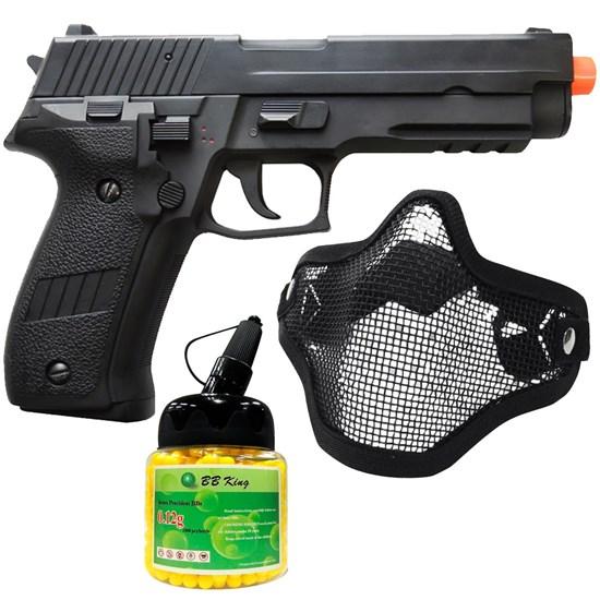 Pistola Airsoft Sig Sauer P226 AEP com Máscara Meia-face Nautika e 1000 Munições BBs