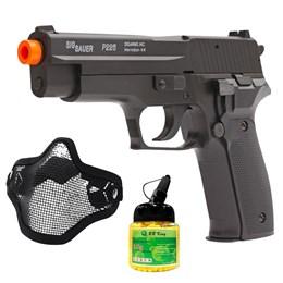 Pistola Airsoft Sig Sauer P226 com Máscara Meia-face Nautika e 1000 Munições BBs