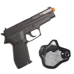 Pistola Airsoft Sig Sauer P226 Cybergun 220 FPS com Slide em Metal + Máscara Meia-face Nautika