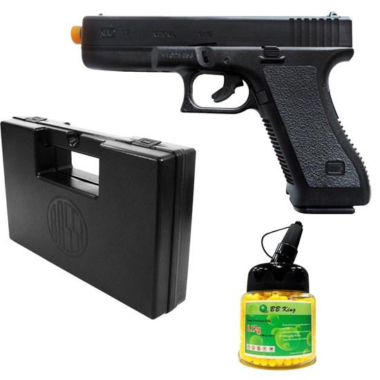 Pistola Airsoft Spring K17 KwC com 1000 Munições BBs e Maleta Case Rossi