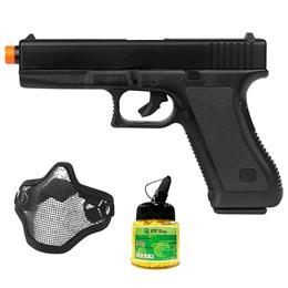 Pistola Airsoft Spring K17 KwC com Máscara Meia-face Nautika e 1000 Munições BBs