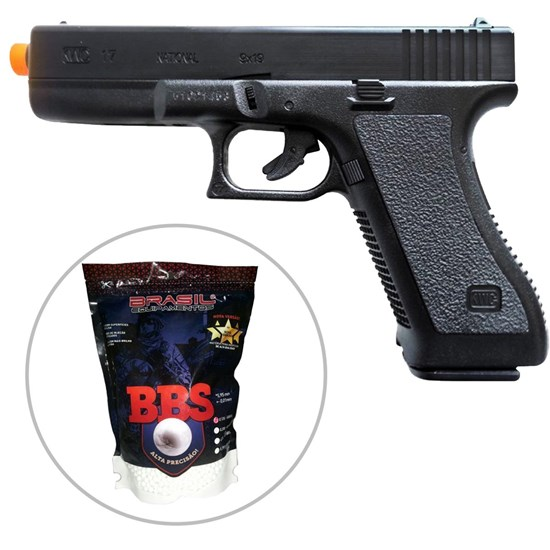 Pistola Airsoft Spring K17 KwC Full ABS + 5000 BBs 0.12g BBKING