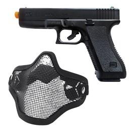 Pistola Airsoft Spring K17 KwC Full ABS + Máscara Meia-face Nautika para Airsoft Tático