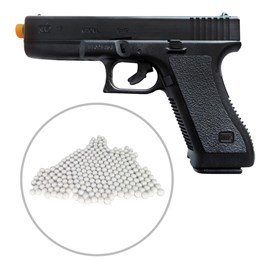 Pistola Airsoft Spring K17 KwC Full ABS + Munições BBs King Airsoft 2000 unidades