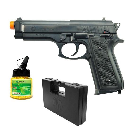 Pistola Airsoft Taurus PT92 com 1000 Munições BBs e Maleta Case Rossi