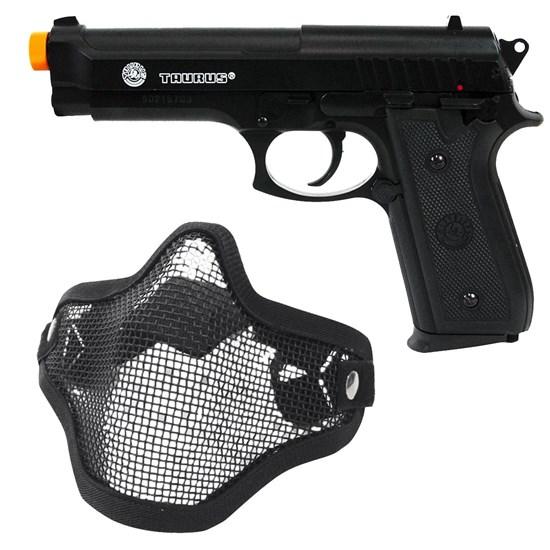 Pistola Airsoft Taurus PT92 com Máscara Meia-face Nautika