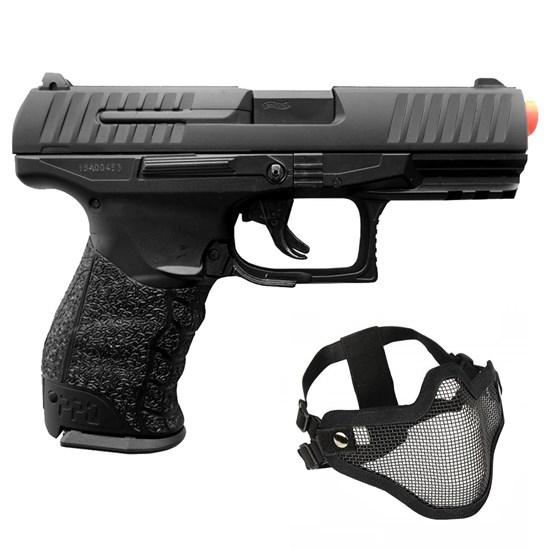 Pistola Airsoft Walther PPQ HME Full Metal 240 FPS Umarex + Máscara Meia-face Nautika Regulável