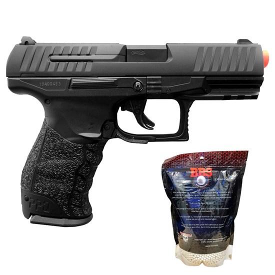 Pistola Airsoft Walther PPQ HME Full Metal Umarex + Munições BBs 0,20g BB King 4000 un