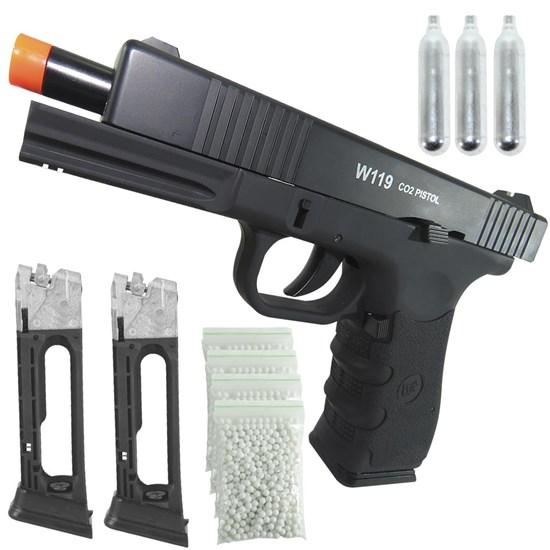 Pistola Airsoft Win Gun W119 + Magazine + 3 Cilindros CO2 + 2 Alvos + 2000 BB's 0,20g