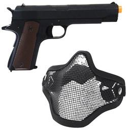 Pistola Colt 1911 CM123 Airsoft Elétrica Full Metal + Máscara Meia-face Nautika