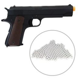 Pistola Colt 1911 CM123 Airsoft Elétrica Full Metal + Munições BBs 0,12g BB King 2000 Un