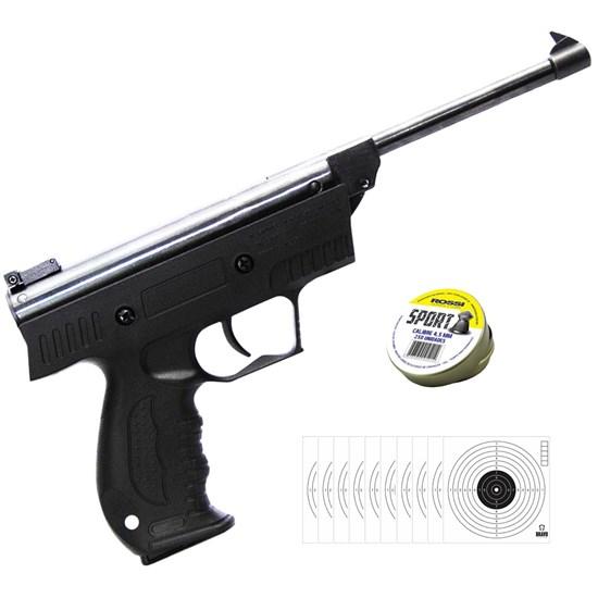 Pistola de Pressão AR+ S3 4.5mm com 250 Chumbinhos e 10 Alvos Papel Bravo Militar
