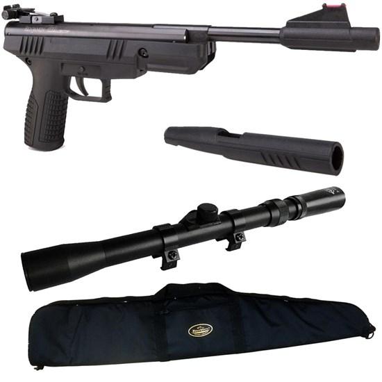 Pistola de Pressão BBP77 4.5mm Nitro Piston com Luneta Scope 3-7x20 e Capa ESP125