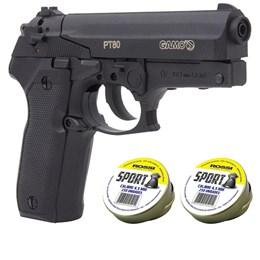 Pistola de Pressão CO2 Gamo PT-80 4.5mm 410 fps + 500 Chumbinhos