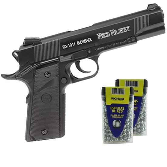 Pistola de Pressão CO2 Red Alert RD-1911 Blowback 4.5mm 430 fps + 600 Esferas