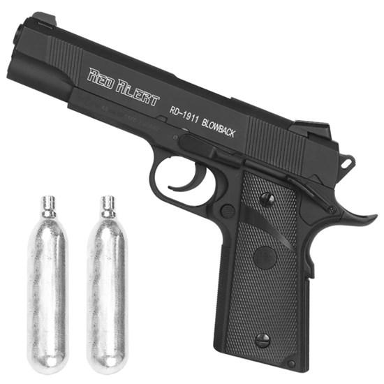 Pistola de Pressão CO2 Red Alert RD-1911 Blowback 4.5mm Semi-Automática + 2 Minis Cilindros CO2 12g