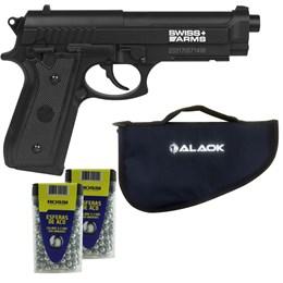 Pistola de Pressão CO2 Swiss Arms SA P92 4.5mm 361 fps Semi-Automática + 600 Esferas + Capa